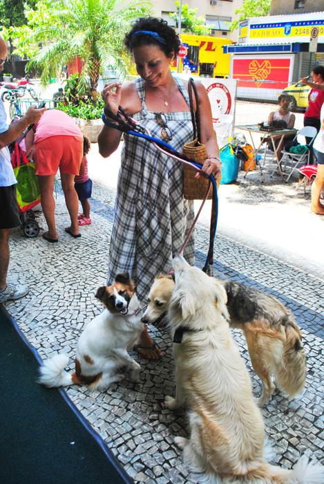 Pipoca (esquerda) com sua mãe e irmãos caninos